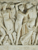 Unknown Roman artist - Sarcophagus with Revelers Gathering Grapes (detail: central third of overall), about 225 AD