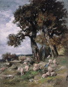 Charles-Emile Jacque - Sheep in the Shelter of the Oaks, about 1870