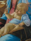 Sandro Botticelli - Virgin and Child with an Angel (detail: Infant Jesus), 1470-1474 height=