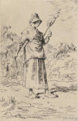 Jean-François Millet - The Flax Spinner, 1868-1869