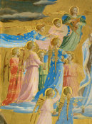 Fra Angelico - The Dormition and Assumption of the Virgin (detail: chorus of angels to the left of the Virgin), 1424-1434