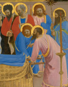 Fra Angelico - The Dormition and Assumption of the Virgin (detail: St. John the Evangelist and other disciples of Christ), 1424-1434