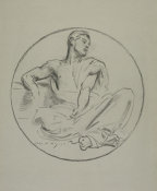John Singer Sargent - Study for the Rotunda of the Museum of Fine Arts, Boston: Seated Male in a Roundel, 1922