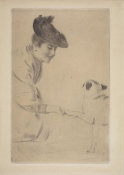 Paul César Helleu - A Woman with a Dog, about 1892