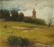 William Morris Hunt - Landscape, The Village Church, 1863