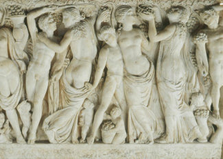 Unknown Roman artist - Sarcophagus with Revelers Gathering Grapes (detail: right half), about 225 AD