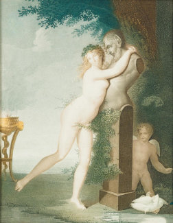 Auguste Gaspard Louis Desnoyers - A Nymph Embracing a Herm of Pan, early 19th century