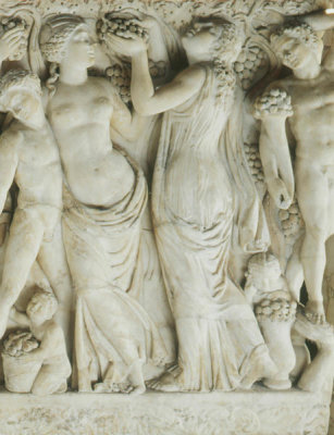 Unknown Roman artist - Sarcophagus with Revelers Gathering Grapes (detail: right third of overall), about 225 AD