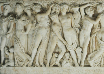Unknown Roman artist - Sarcophagus with Revelers Gathering Grapes (detail: left half), about 225 AD