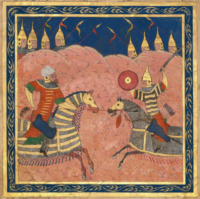 Iranian, Shiraz - Miniature from the Shahnameh: Rustam Fighting with Suhrab, 14th century