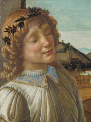 Sandro Botticelli - Virgin and Child with an Angel (detail: the angel), 1470-1474