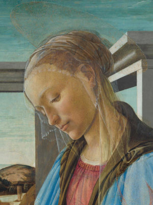 Sandro Botticelli - Virgin and Child with an Angel (detail; the Virgin Mary), 1470-1474