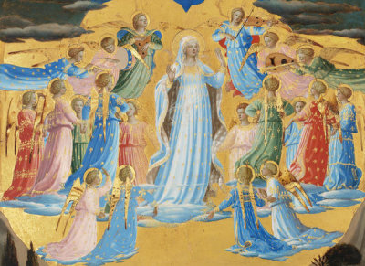 Fra Angelico - The Dormition and Assumption of the Virgin (detail: the Virgin among angels), 1430-1434