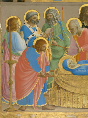 Fra Angelico - The Dormition and Assumption of the Virgin (detail: St. Peter reading the office of the dead), 1424-1434