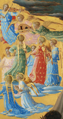 Fra Angelico - The Dormition and Assumption of the Virgin (detail: chorus of angels to the right of the Virgin), 1424-1434