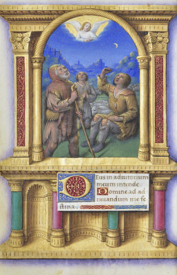 Jean Bourdichon - Book of Hours: Annunciation to the Shepherds, 1490-1515
