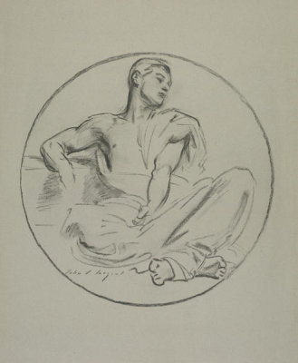John Singer Sargent - Study of a Seated Male in a Roundel, 1922