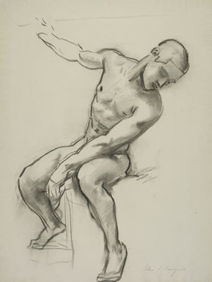 John Singer Sargent - Study of a Seated Male Nude, 1917-1922