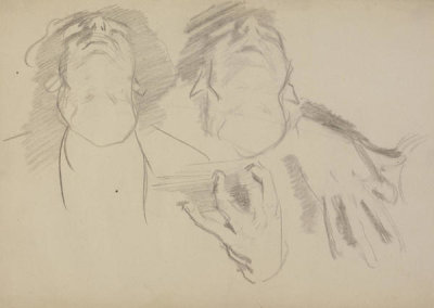 John Singer Sargent - Study for El Jaleo: Seated Musicians' Heads and Hands, 1881