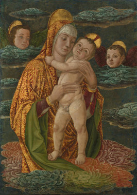 Unknown Italian artist - The Virgin and Child in the Clouds, about 1470