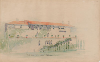 Willard Thomas Sears - Design for the Exterior of Fenway Court, East View, 1900