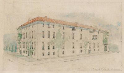 Willard Thomas Sears - Design for the Exterior of Fenway Court, Northwest View, 1900