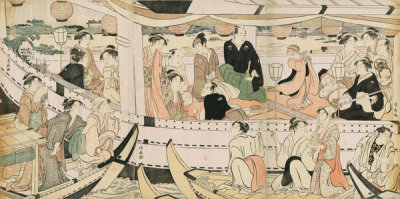 Torii Kiyonaga - Pleasure Boat on the Sumida River, about 1788-1790