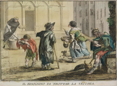 Unknown Italian artist - The Beggar Makes the Old Woman Dance, 18th century