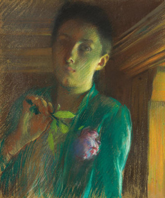 Albert Besnard - A Lady with a Rose, before 1892