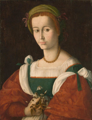 Bacchiacca - A Lady with a Nosegay, about 1525