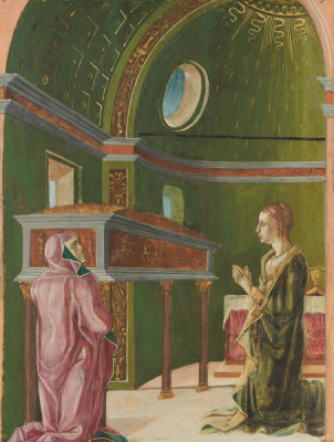 Follower of Cosmè Tura - Saint Lucy and Saint Eutychia at the Shrine of Saint Agatha, 1480s